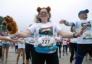 Participants of the race to support rare animals of the Far East held as part of the 5th Eastern Economic Forum at Far Eastern Federal University (FEFU) on Russky Island